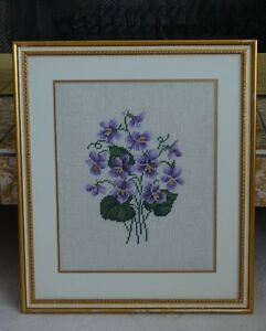 NEEDLEPOINT PICTURE OF VIOLETS