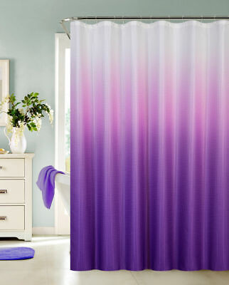 Ombre Waffle Fabric Shower Curtain with 12 Metal Roller Hooks, Purple
