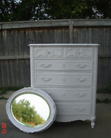 FRENCH PROVINCIAL 5 DRAWER HIGHBOY & ANTIQUE MIRROR - SOLID WOOD