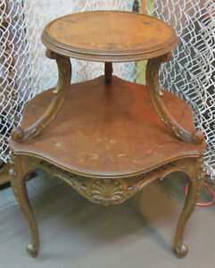 2-Tier Antique Inlaid Table