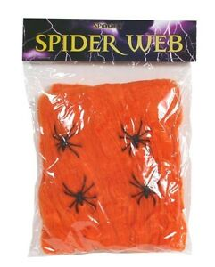 Spider Web With Spiders Halloween Decoration Stretchy Cobweb 40g