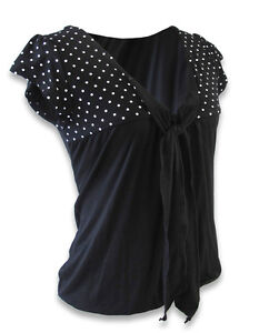 Liquorbrand-Polka-Dot-Bow-Ladies-Top-Pinup-Rockabilly-Vintage
