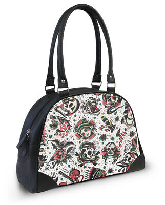 Liquorbrand Americana Faux Leather Tattoo Flash Print Bowler Gothic Handbag