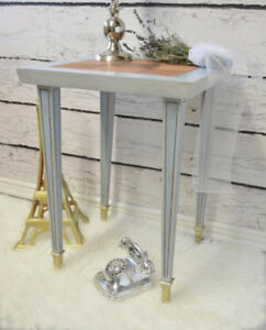 Neoclassical Style Parquet Top Side Table