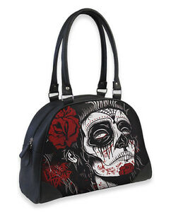TATTOO GYPSY SUGAR DEAD GIRL SKULL ROSE BOWLER BAG HANDBAG LIQUOR BRAND GOTH