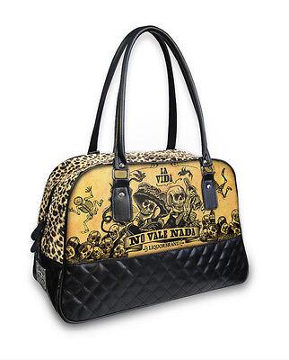 Liquor Brand La Vida No Vale Nada Emo Punk Rocker Overnight Bag Purse B-CQ-027