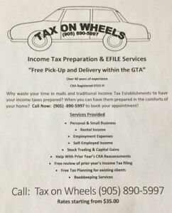 "Income Tax Preparation -  ""Free Pick-Up and Delivery"""