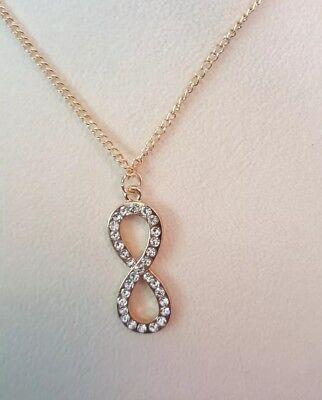 Infinity Rhinestone Figure Eight Necklace Gold toned (Figure Eight Pendant Necklace)