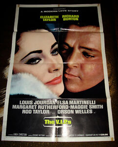 RARE 1963 ELIZABETH TAYLOR RICHARD BURTON V.I.P.'s MOVIE POSTER