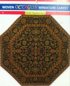 "Miniature Woven Carpet - OCTAGON ( 8"" X 8"" ) - Free Shipping"