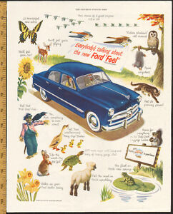 Full-page (10 1/2 x 13 1/2) color magazine ad for 1949 Ford