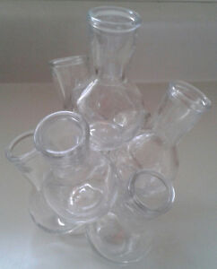 Multiple Clear Glass Bud Vase with 7 Mini