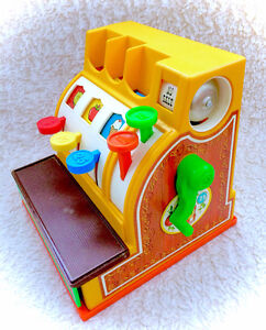 Vintage Fisher Price 1974 Cash Register Complete With Coin WORKS