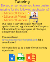 Tutor for Microsoft  Excel Microsoft Office, or Microsoft Access