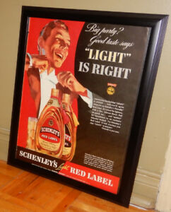 RARE 1939 SCHENLEY'S RED LABEL WHISKEY FRAMED AD / ANONCE