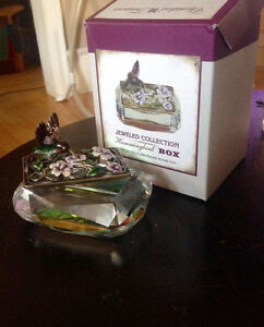 Glass Hummingbird Trinket Box