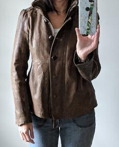Manteau cuir brun pâle pour femme marque Mackage