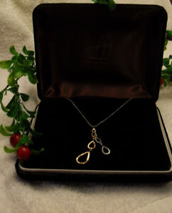 14k white gold necklace with 16 inch chain / 14k Pendant
