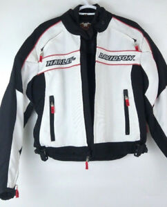 Harley Davidson SMALL white and black American motorcycle jacket
