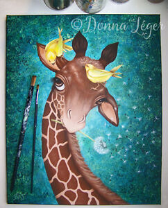 Giraffe With Birds Original Painting