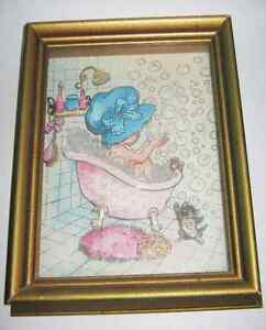 1980s Paper Tole Bathtub Bubbles Girl Picture 3D Shadow Box
