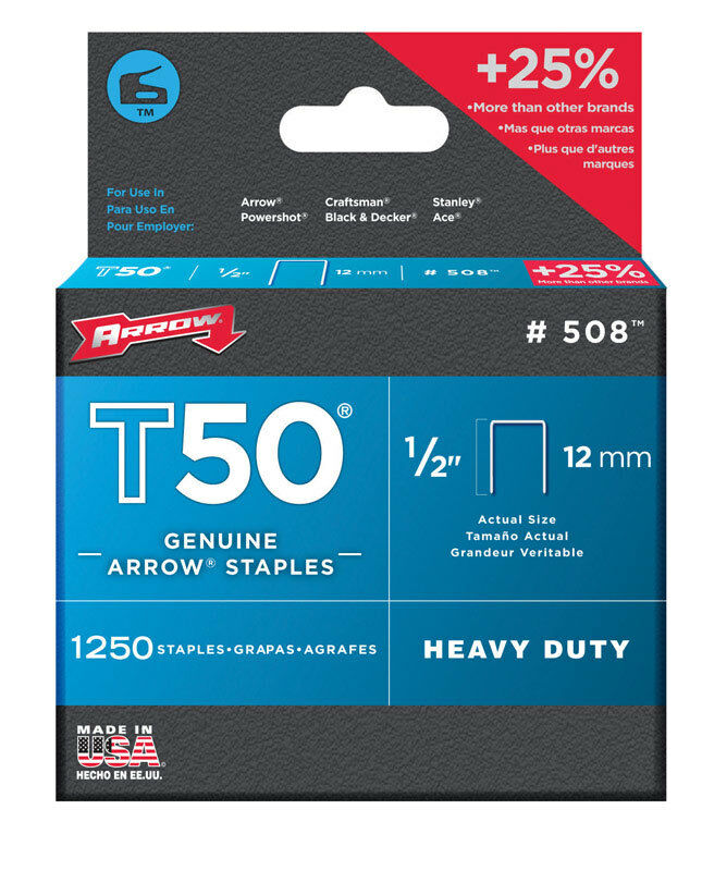 Arrow 508 T50 1/2-Inch Staples, 1,250-Count