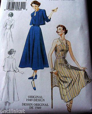 1940s VOGUE VINTAGE MODEL HALTER DRESS & JACKET SEWING PATTERN 6-8-10-12-14 UC