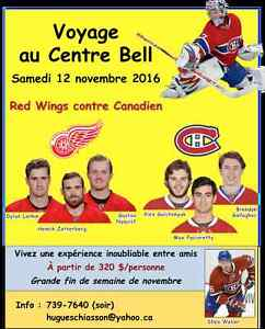 Voyage au Centre Bell/Hockey trip - Canadien-Wings 12 nov. 2016