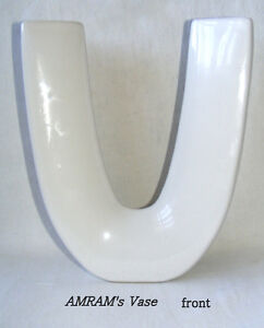 Amram's Vase, white ceramic, narrow U- shaped, triangular tube