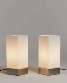 John Lewis Mitch Touch Lamps, Silver, Set of 2 Lighting BRAND NEW