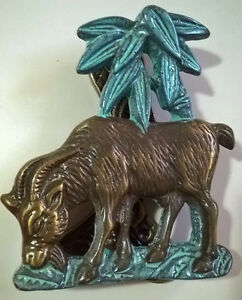 Vintage Solid Brass Goat Under a Palm Tree  Door Knocker