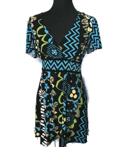 Bisou Bisou Maternity Tunic Top Blue Green Floral V Neck Back Tie Short Sleeve M