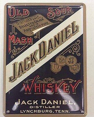 Jack Daniels Whiskey Old Sour Mash mini metal sign / postcard 110cm x 8cm  (hi)