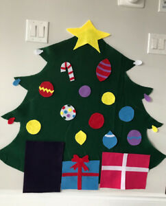 Kids decorate Christmas felt tree