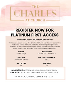 Charles At Church Condos - CALL NOW price & allocation available