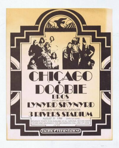 ORIGINAL Vintage 1974 Chicago Doobie Bros Lynyrd Skynyrd Pittsburgh Handbill