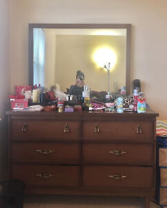 Solid Wood Dresser with Mirror at $30