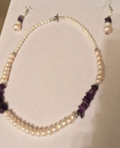 Pearl and amethyst necklace set