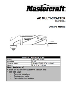 MasterCraft Multi-Crafter Tool 120V 60Hz 2.3 AC