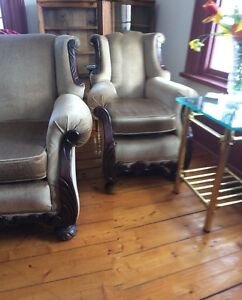 "Beautiful antique""wingback"" chairs"