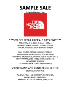 One. 5 Inc. presents The North Face Sample Sale