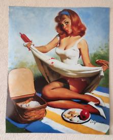 Pin up girl picnic PRINT / POSTER / WALL ART
