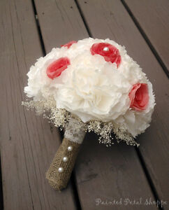 Ivory & Coral Coffee Filter Bridal Bouquet/ Rustic Wedding Belleville Belleville Area image 1