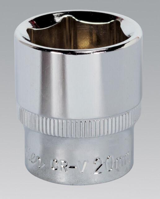 "Sealey SP3820 WallDrive® Socket 20mm 3/8""Sq Drive Fully Polished"