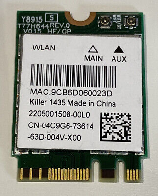 Killer 1435 Alienware Gaming Laptop WiFi WLAN & BT Card QCNFA344A W51