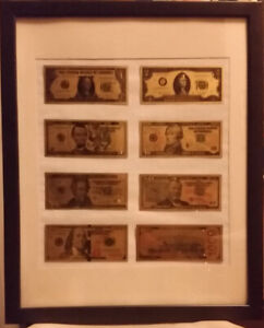 Rare Collectible Real 24k Gold Foil Plated Framed U.S Currency