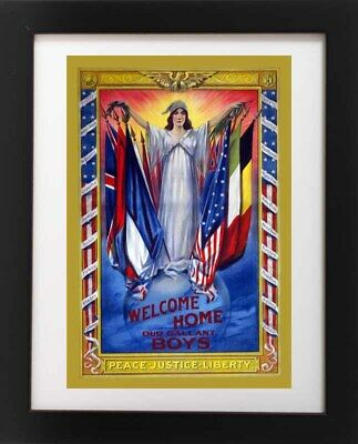 Antique WWI Lady PEACE LIBERTY JUSTICE American Flag Poster RP Fine Art Print (Lady Justice Art)
