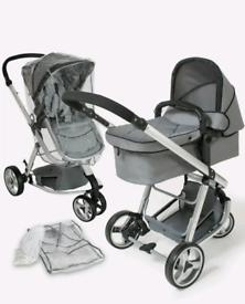 Pushchair with newborn bassinet and stroller buggy pram