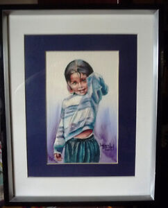 "Watercolor Lithograph by Lisandro Lopez Baylon ""Portrait of Indi"