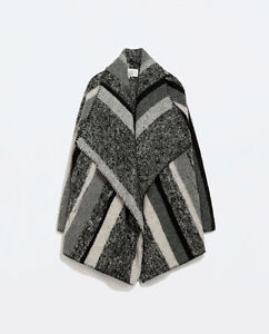 Striped Wool Poncho Cape Jacket M_Brand New